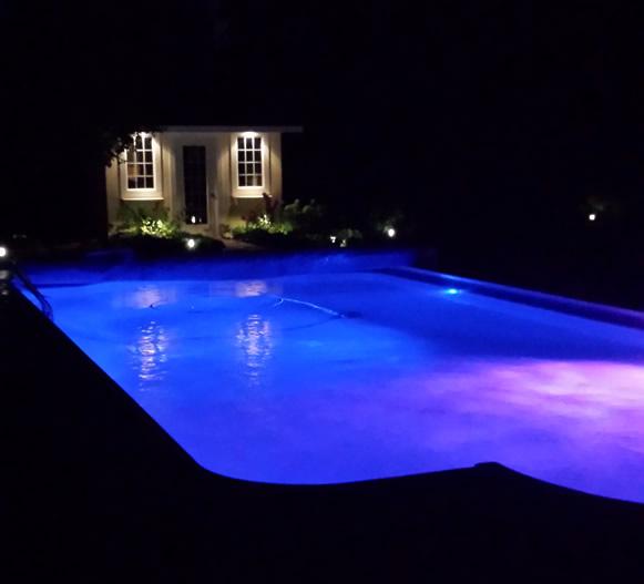 LED Lights in back yard pool
